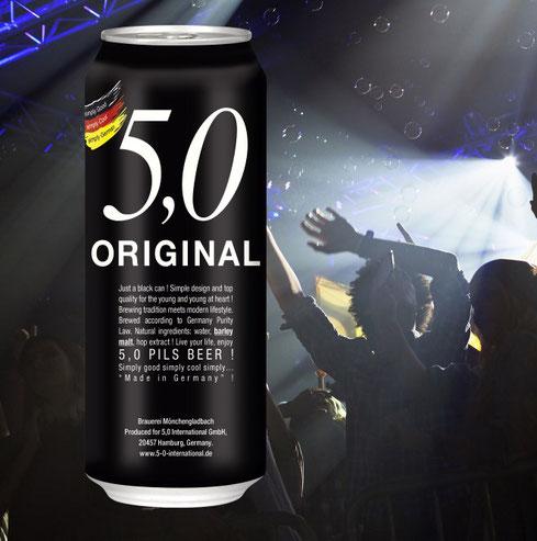 5 0 original black pils beer CAN display