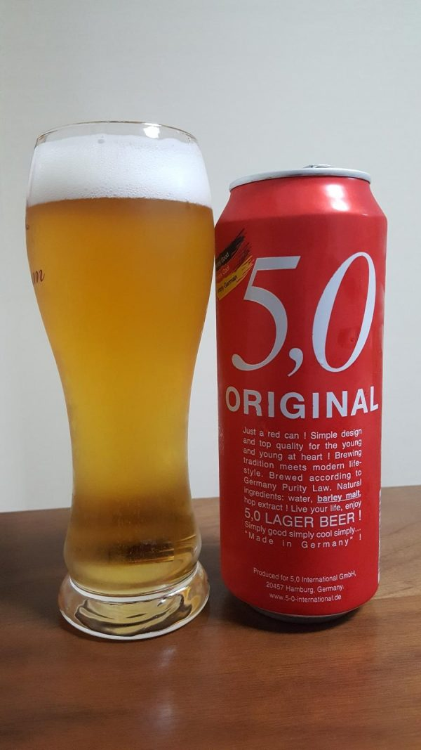 5 0 original lager beer CAN GLASS