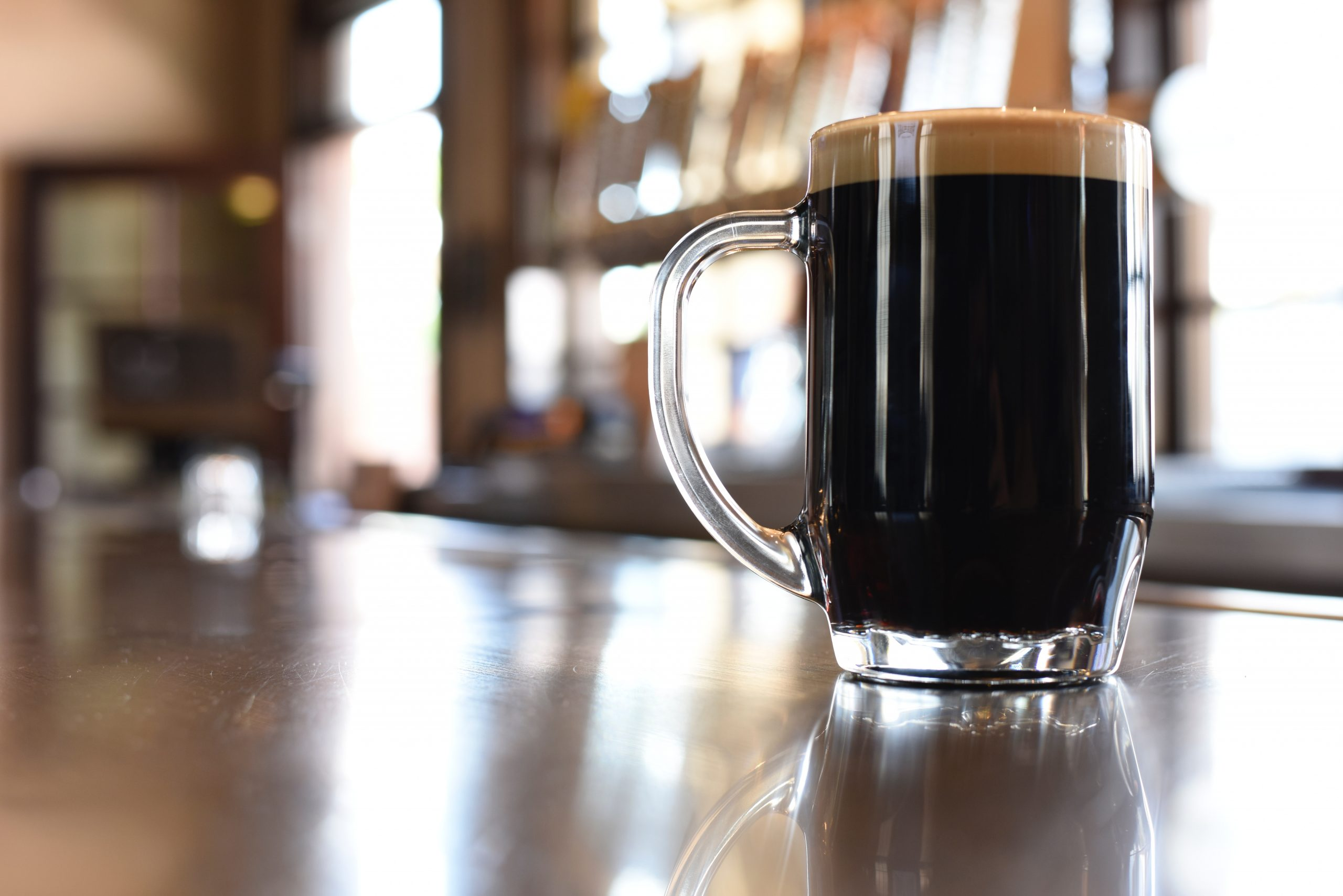 DARK BEER DRAUGHT clear glass mug with black liquid 1267363 scaled