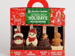 Set 4 ciocolate calde pe lingurita Sarbatori Fericite