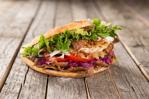 Kebab sandwich in pita bread